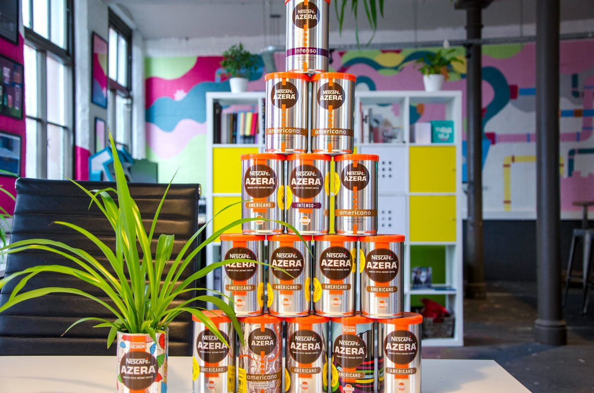 Studio Seventeen Office (tower of coffee cans in office)